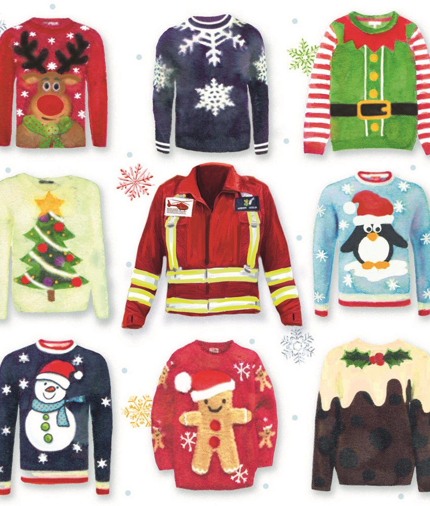 Nine Jumpers and Christmas Hats (Two Designs)