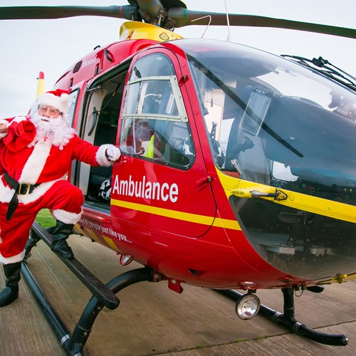 It's Up, Up And Away As Santa Brings His Sleigh To Strensham